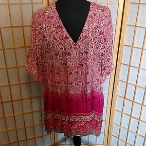 Pink Short Sleeve Button Top Simply Emma Size 2X